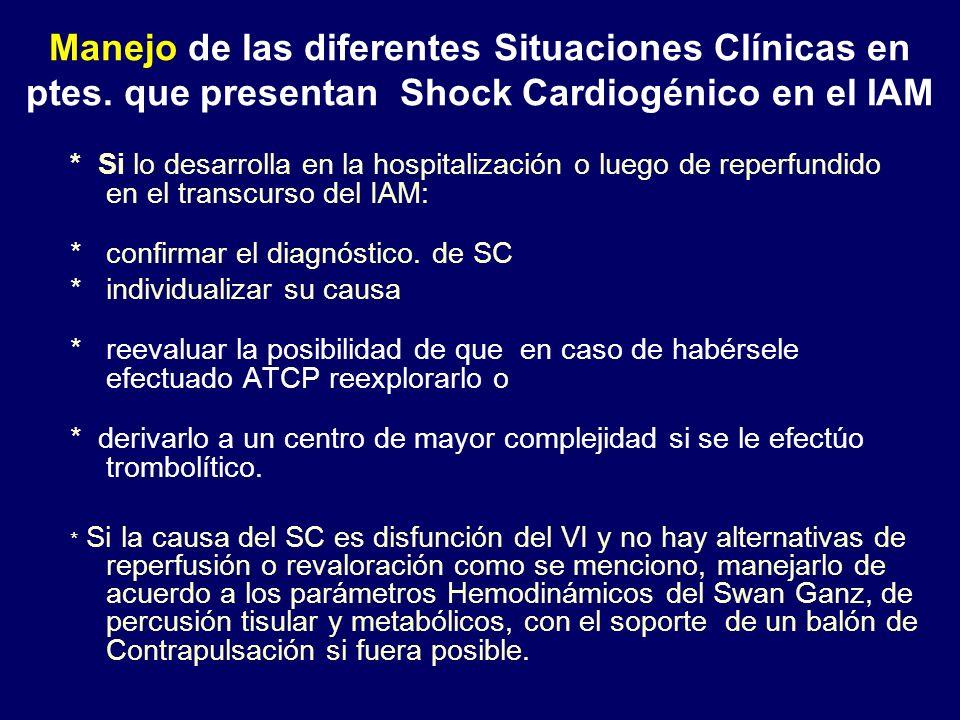 * Si lo desarrolla en la hospitalización o luego de reperfundido en el transcurso del IAM: * confirmar el diagnóstico. de SC * individualizar su causa