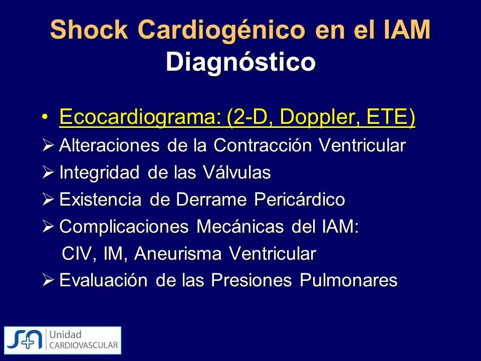 Shock Cardiogénico en el IAM Diagnóstico Ecocardiograma: (2-D, Doppler, ETE)Ecocardiograma: (2-D, Doppler, ETE) Alteraciones de la Contracción Ventric
