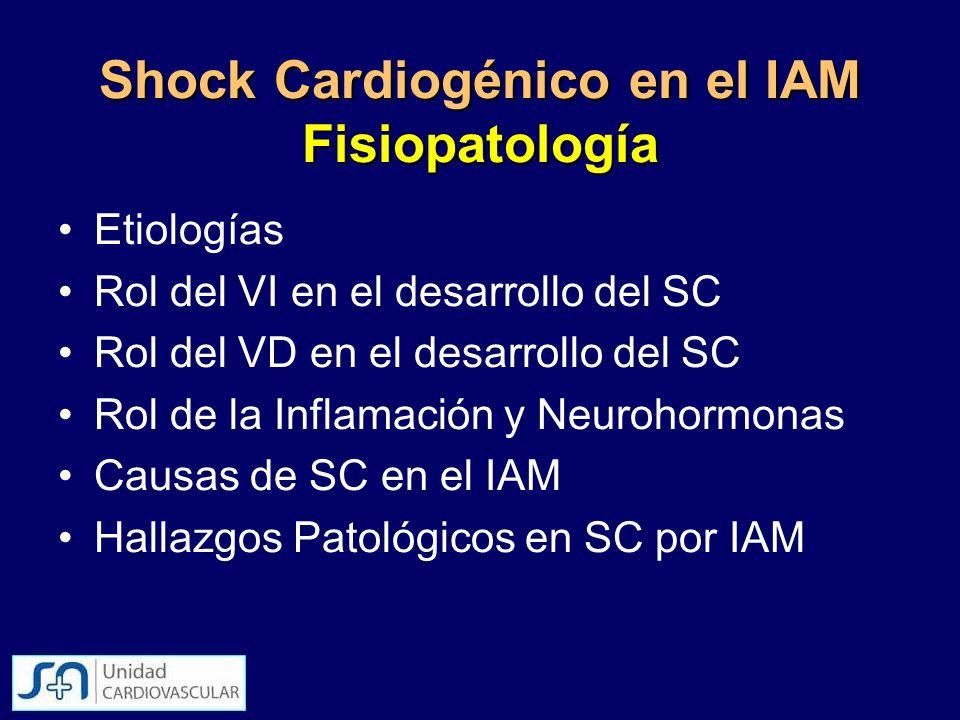 Etiologías Rol del VI en el desarrollo del SC Rol del VD en el desarrollo del SC Rol de la Inflamación y Neurohormonas Causas de SC en el IAM Hallazgo