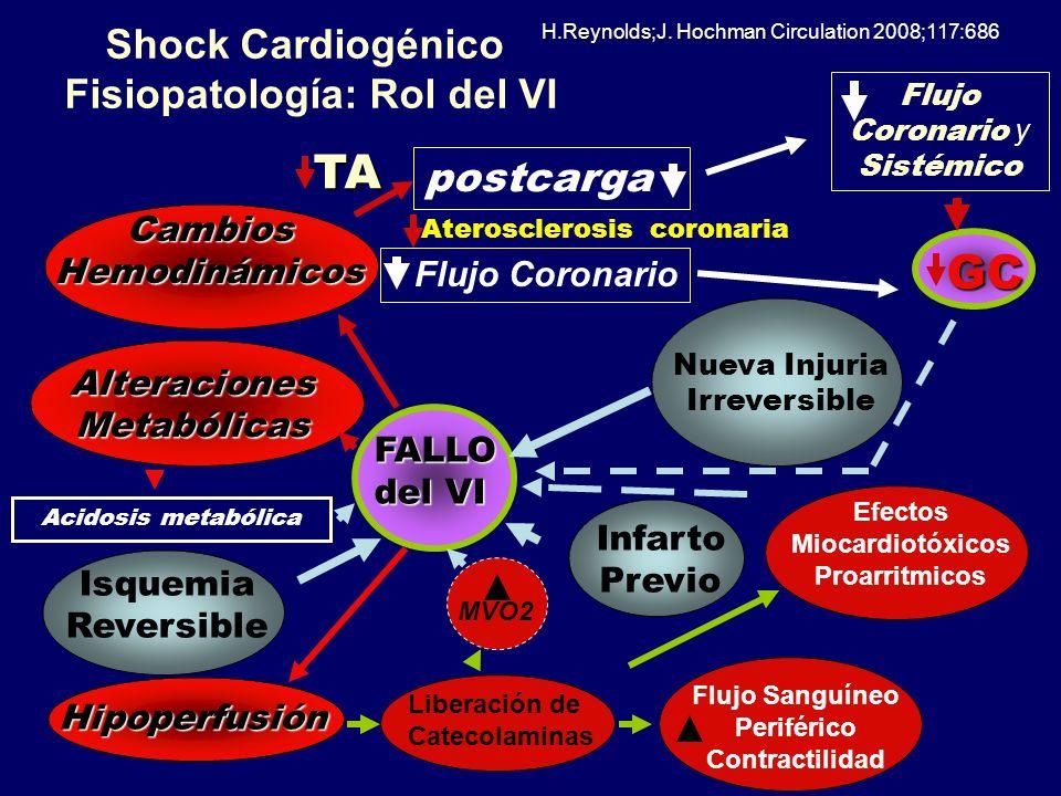 Shock Cardiogénico Fisiopatología: Rol del VI Nueva Injuria Irreversible Isquemia Reversible Infarto Previo Cambios Hemodinámicos Alteraciones Metaból