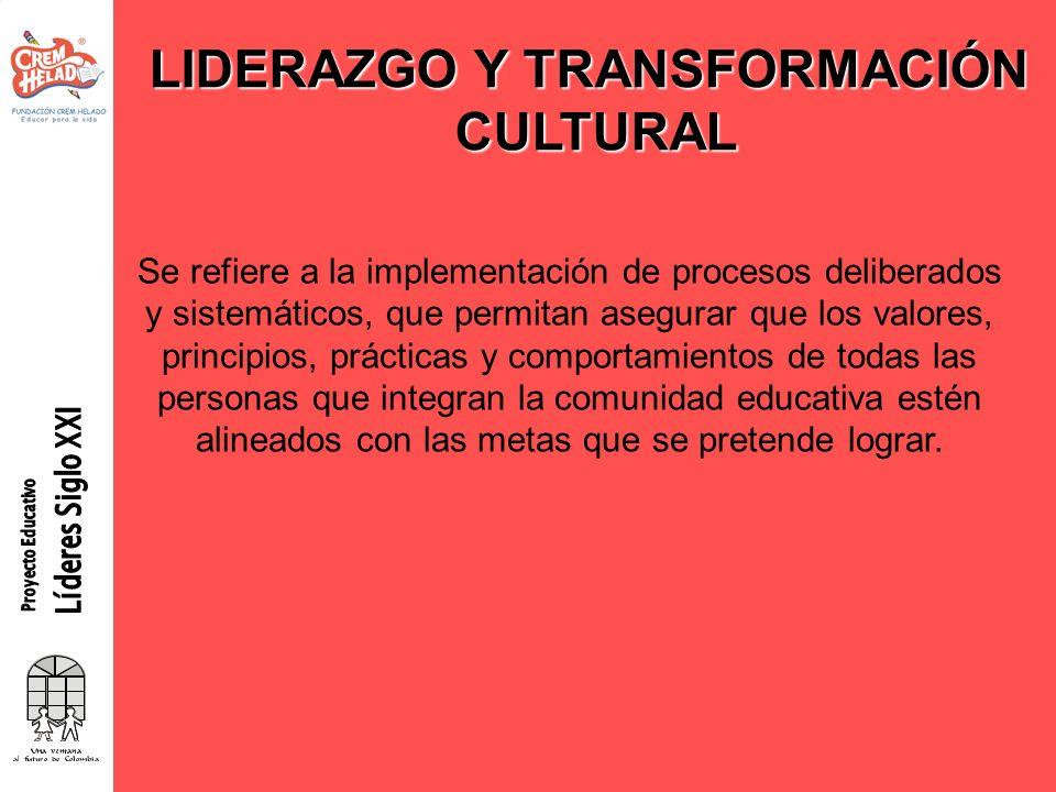 LIDERAZGO Y TRANSFORMACIÓN CULTURAL Se refiere a la implementación de procesos deliberados y sistemáticos, que permitan asegurar que los valores, prin