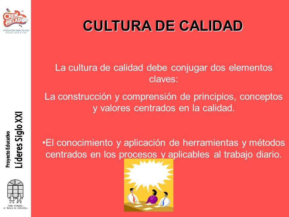 CULTURA DE CALIDAD La cultura de calidad debe conjugar dos elementos claves: La construcción y comprensión de principios, conceptos y valores centrado