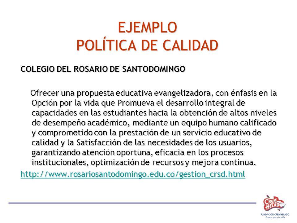 EJEMPLO POLÍTICA DE CALIDAD COLEGIO DEL ROSARIO DE SANTODOMINGO Ofrecer una propuesta educativa evangelizadora, con énfasis en la Opción por la vida q