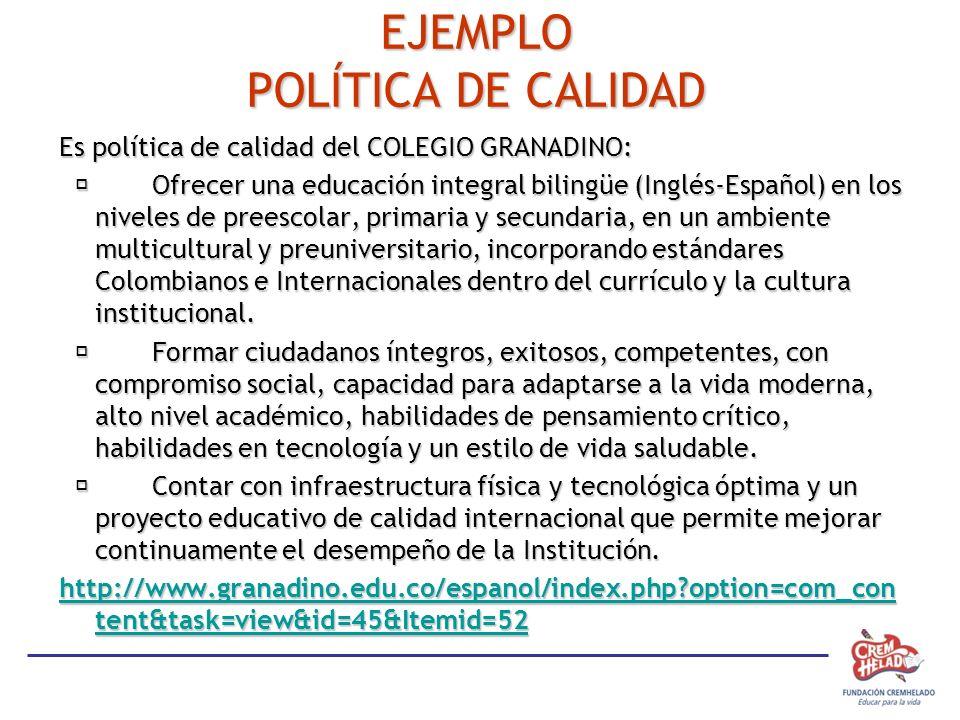 EJEMPLO POLÍTICA DE CALIDAD Es política de calidad del COLEGIO GRANADINO: Ofrecer una educación integral bilingüe (Inglés-Español) en los niveles de preescolar, primaria y secundaria, en un ambiente multicultural y preuniversitario, incorporando estándares Colombianos e Internacionales dentro del currículo y la cultura institucional.