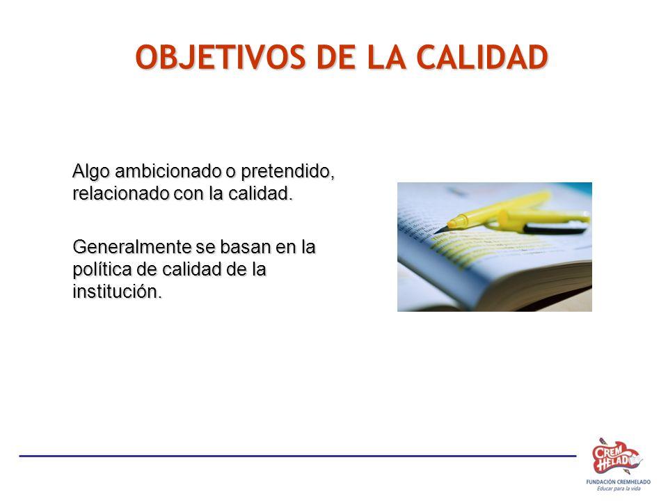 OBJETIVOS DE LA CALIDAD Algo ambicionado o pretendido, relacionado con la calidad. Generalmente se basan en la política de calidad de la institución.