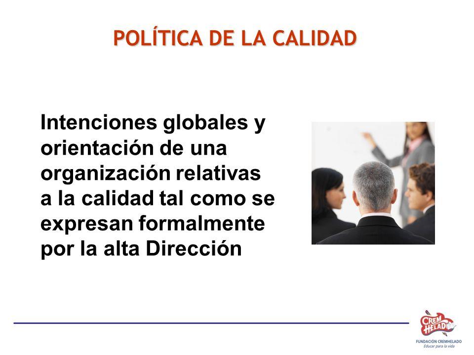 POLÍTICA DE LA CALIDAD Intenciones globales y orientación de una organización relativas a la calidad tal como se expresan formalmente por la alta Dirección