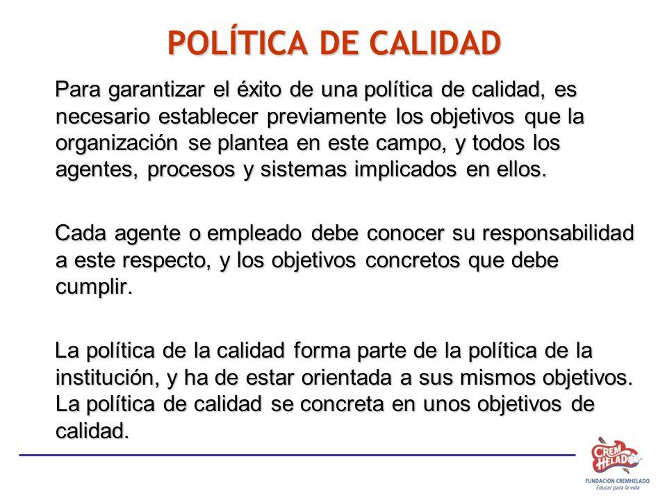POLÍTICA DE CALIDAD Para garantizar el éxito de una política de calidad, es necesario establecer previamente los objetivos que la organización se plan