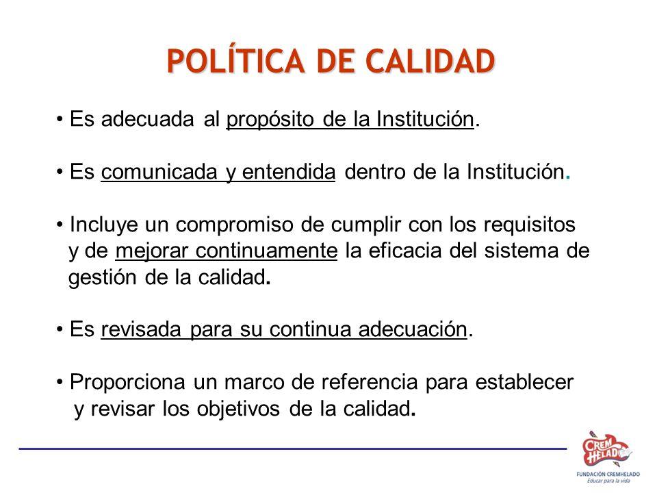POLÍTICA DE CALIDAD Es adecuada al propósito de la Institución. Es comunicada y entendida dentro de la Institución. Incluye un compromiso de cumplir c