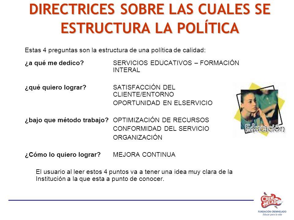 DIRECTRICES SOBRE LAS CUALES SE ESTRUCTURA LA POLÍTICA Estas 4 preguntas son la estructura de una política de calidad: ¿a qué me dedico?SERVICIOS EDUC