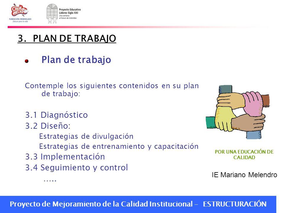 Proyecto de Mejoramiento de la Calidad Institucional - ESTRUCTURACIÓN 3. PLAN DE TRABAJO Plan de trabajo Contemple los siguientes contenidos en su pla