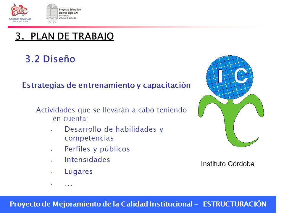 Proyecto de Mejoramiento de la Calidad Institucional - ESTRUCTURACIÓN 3. PLAN DE TRABAJO 3.2 Diseño Estrategias de entrenamiento y capacitación Activi