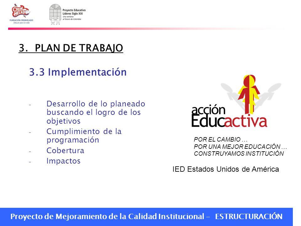 Proyecto de Mejoramiento de la Calidad Institucional - ESTRUCTURACIÓN 3. PLAN DE TRABAJO 3.3 Implementación – Desarrollo de lo planeado buscando el lo