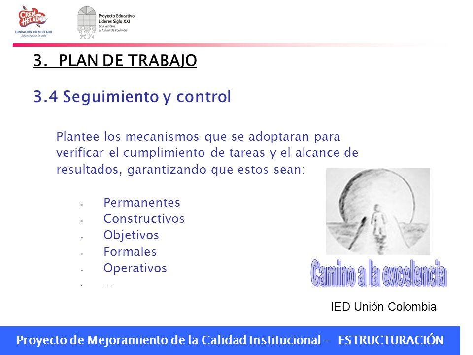 Proyecto de Mejoramiento de la Calidad Institucional - ESTRUCTURACIÓN 3. PLAN DE TRABAJO 3.4 Seguimiento y control Plantee los mecanismos que se adopt