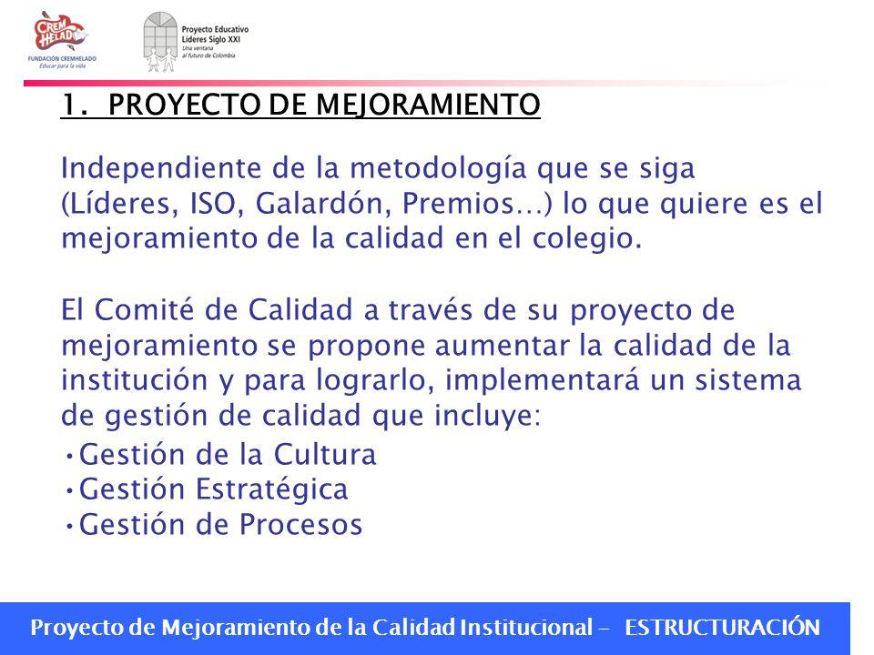 Proyecto de Mejoramiento de la Calidad Institucional - ESTRUCTURACIÓN Independiente de la metodología que se siga (Líderes, ISO, Galardón, Premios…) l