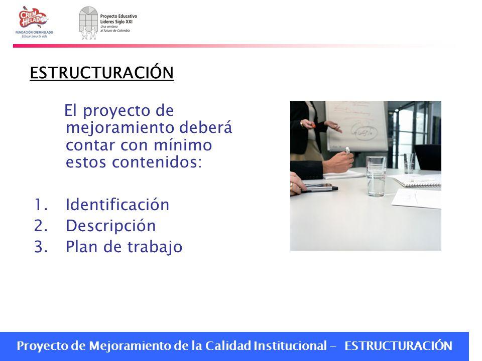 Proyecto de Mejoramiento de la Calidad Institucional - ESTRUCTURACIÓN ESTRUCTURACIÓN El proyecto de mejoramiento deberá contar con mínimo estos conten
