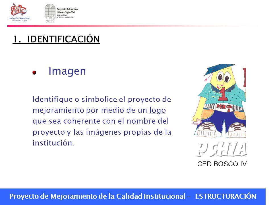 Proyecto de Mejoramiento de la Calidad Institucional - ESTRUCTURACIÓN 1. IDENTIFICACIÓN Imagen Identifique o simbolice el proyecto de mejoramiento por