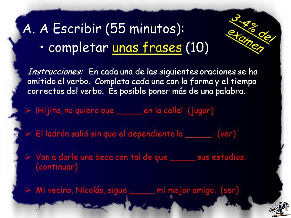 9 Instrucciones: Lee el pasaje siguiente. Luego escribe en la línea la forma correcta de la palabra de entre paréntesis que se necesita para completar