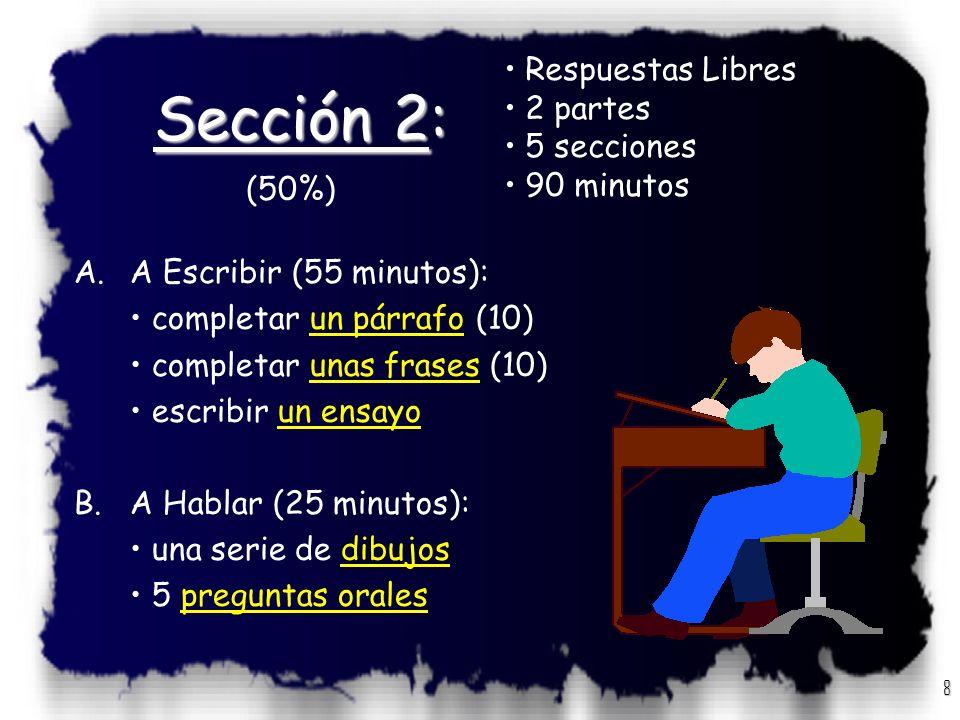 7 D.Comprensión de Lectura:Comprensión de Lectura 25-30 preguntas / 40 minutos Instrucciones: Lee con cuidado cada uno de los pasajes siguientes. Cada