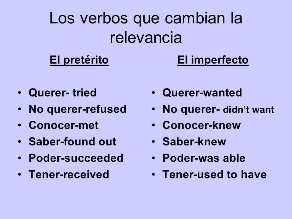 Los verbos que cambian la relevancia El pretérito Querer- tried No querer-refused Conocer-met Saber-found out Poder-succeeded Tener-received El imperf