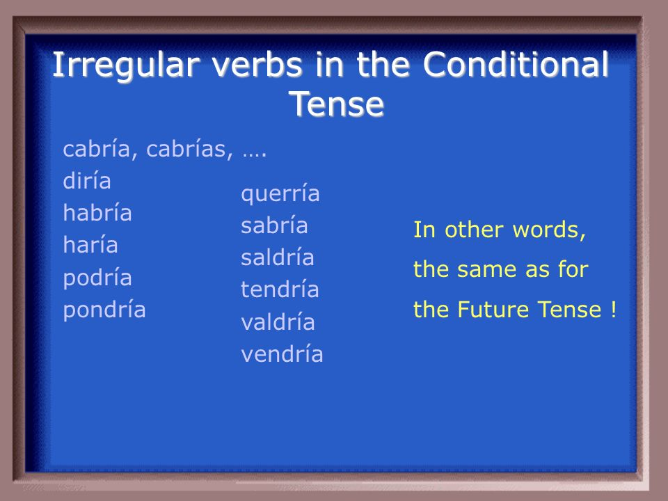 Irregular verbs in the Conditional Tense cabría, cabrías, ….