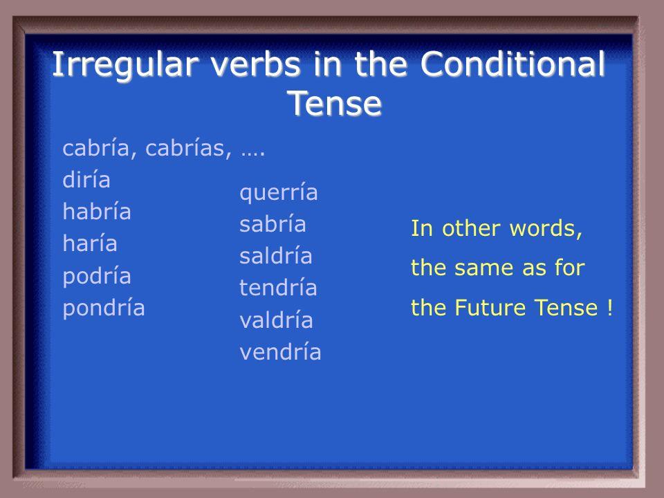 Irregular Verbs in the Future Tense: caber decir haber hacer poder poner querer saber salir tener valer venir