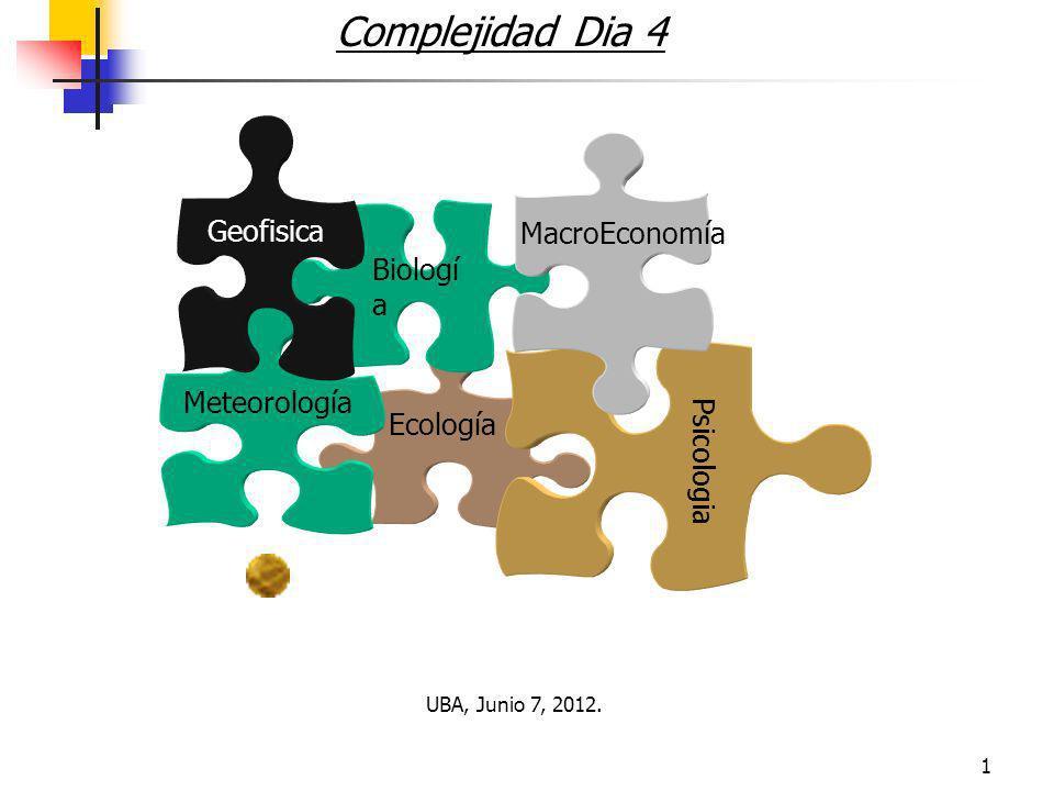 1 Complejidad Dia 4 Ecología Biologí a Psicologia Meteorología MacroEconomía Geofisica UBA, Junio 7, 2012.
