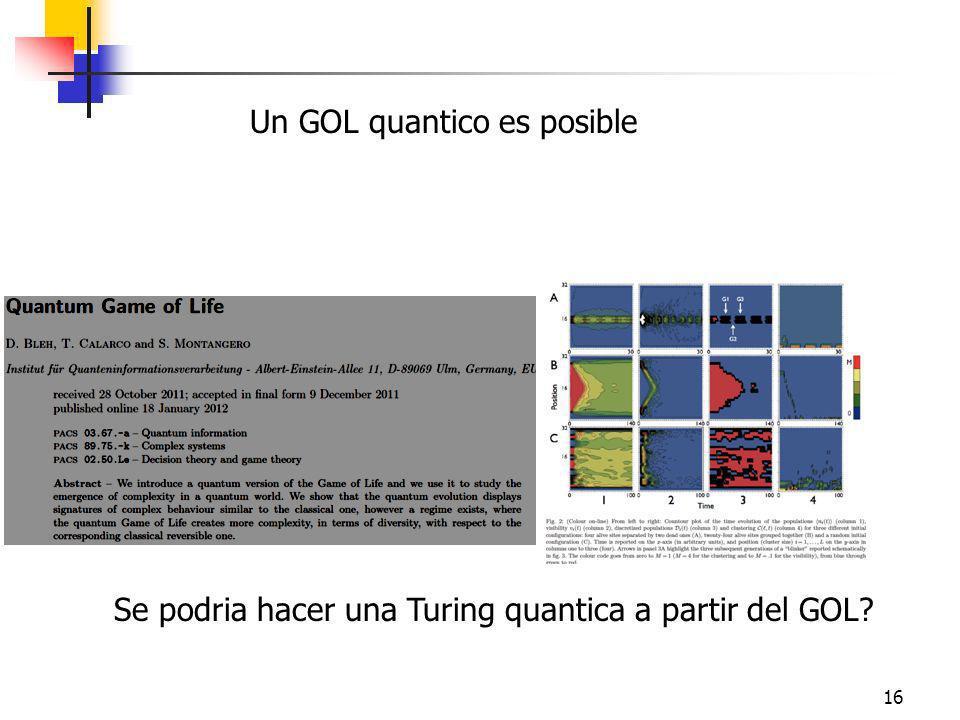 16 Se podria hacer una Turing quantica a partir del GOL? Un GOL quantico es posible