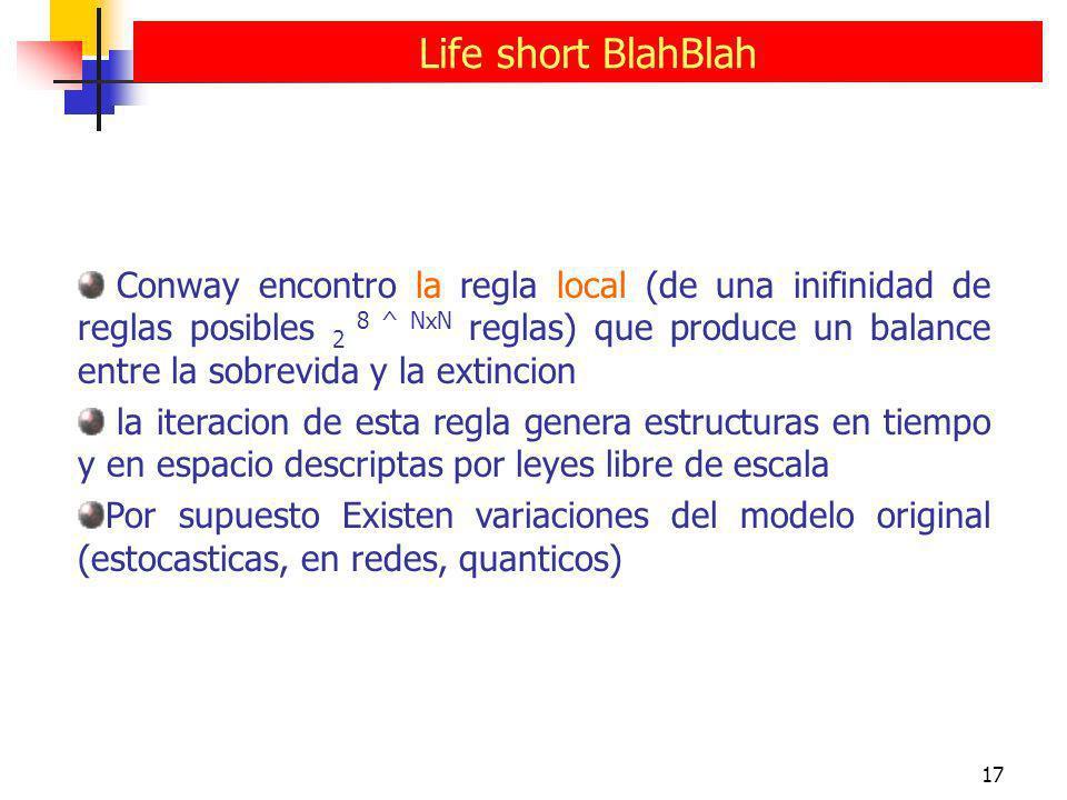 17 Life short BlahBlah Conway encontro la regla local (de una inifinidad de reglas posibles 2 8 ^ NxN reglas) que produce un balance entre la sobrevid