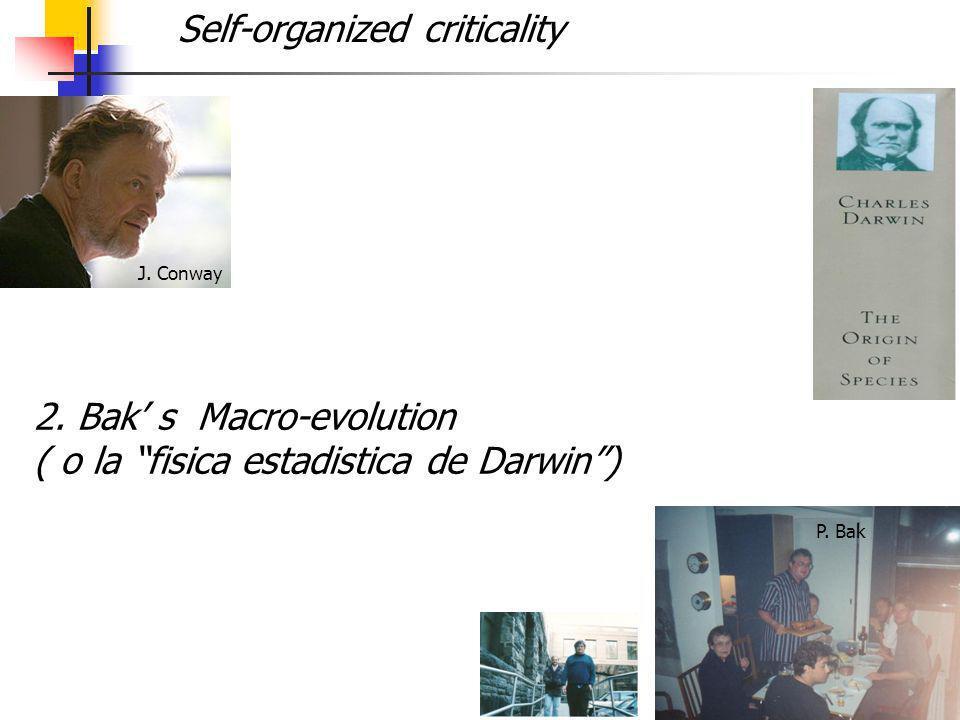 18 2. Bak s Macro-evolution ( o la fisica estadistica de Darwin) J. Conway P. Bak Self-organized criticality