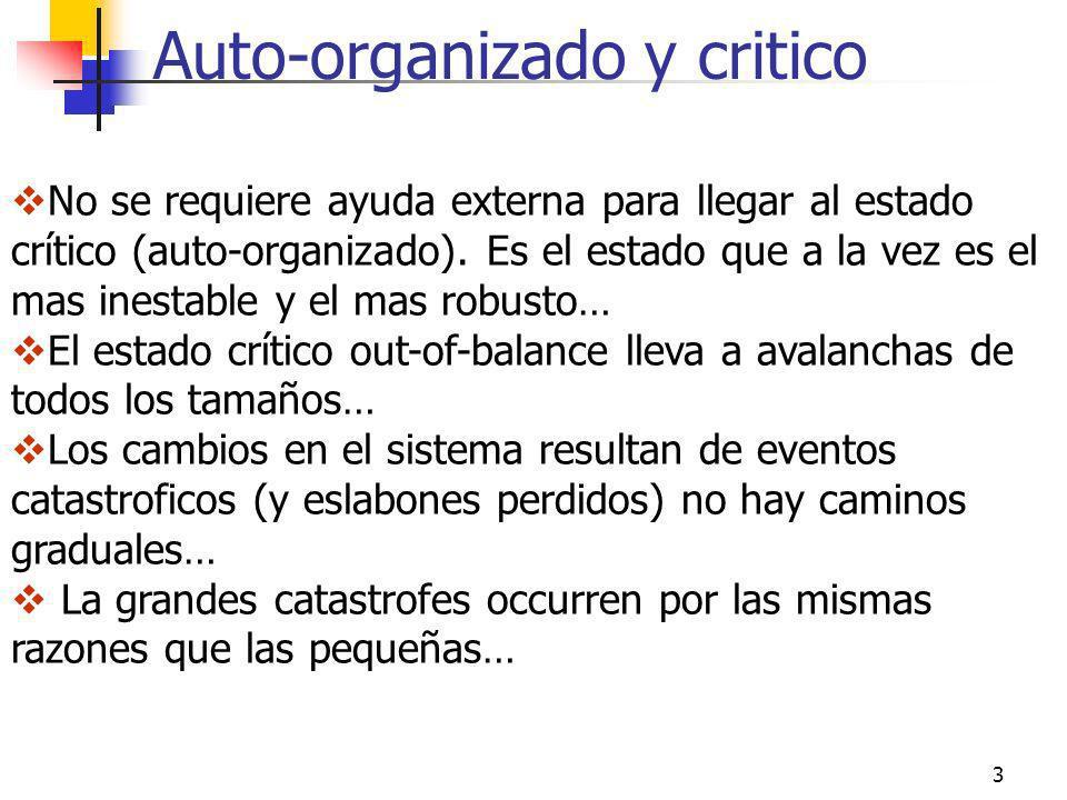Auto-organizado y critico 3 No se requiere ayuda externa para llegar al estado crítico (auto-organizado). Es el estado que a la vez es el mas inestabl
