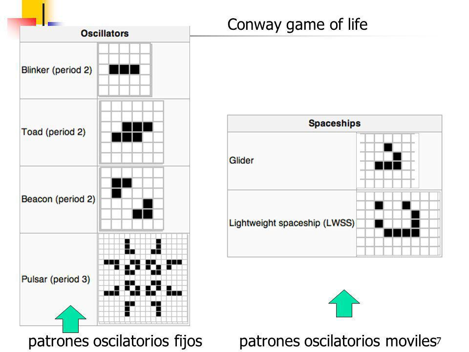 7 Conway game of life patrones oscilatorios fijospatrones oscilatorios moviles