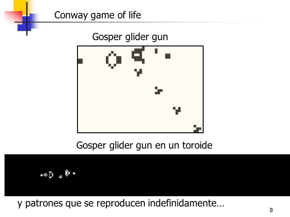 8 Conway game of life Gosper glider gun Gosper glider gun en un toroide y patrones que se reproducen indefinidamente…