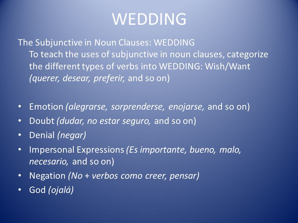 Have students work with a partner to make an oral presentation using the WEDDING uses with given situations.