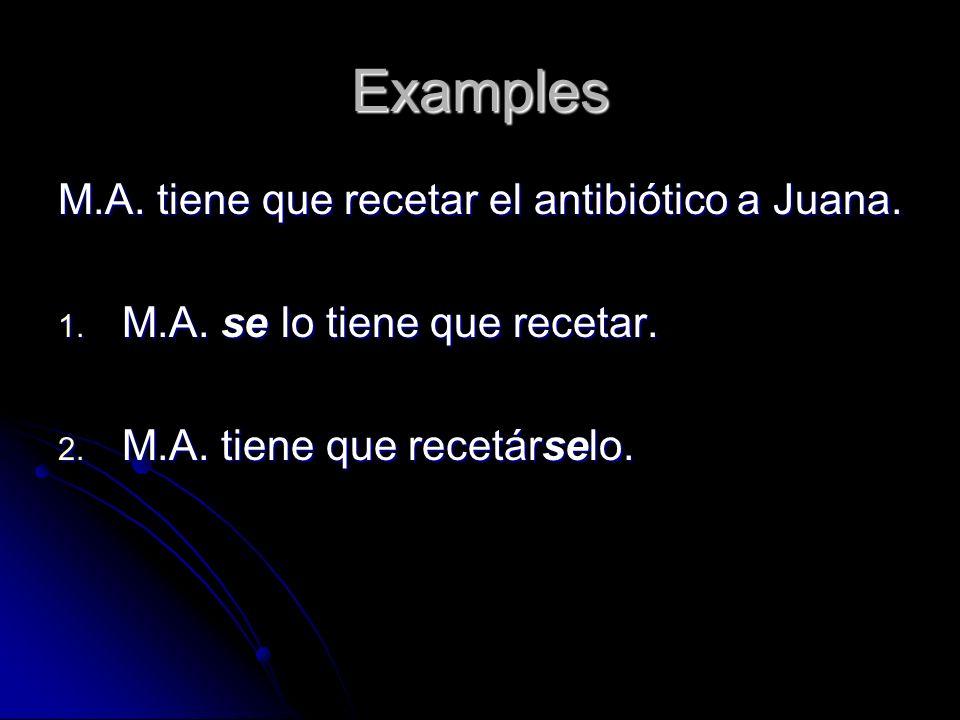 Examples M.A. tiene que recetar el antibiótico a Juana. 1. M.A. se lo tiene que recetar. 2. M.A. tiene que recetárselo.