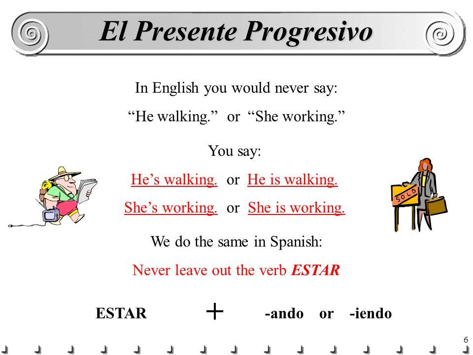 16 ¡No olvidas.In Spanish ser, ir, and venir are NEVER used in the present progressive.