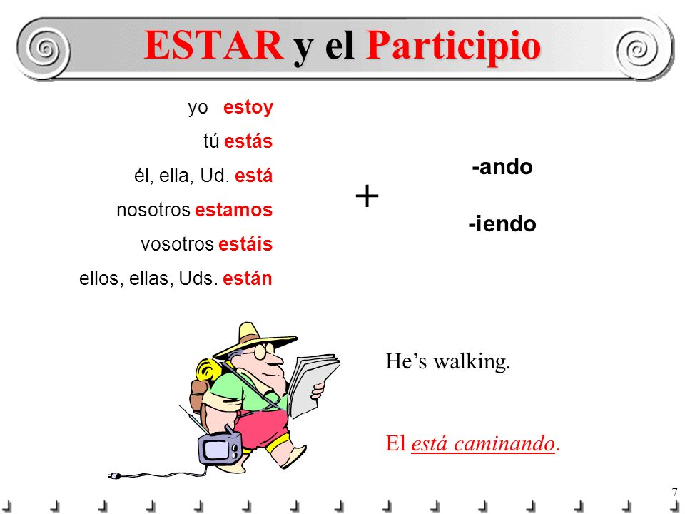 6 In English you would never say: He walking. or She working. You say: Hes walking. or He is walking. Shes working. or She is working. ESTAR + -ando o