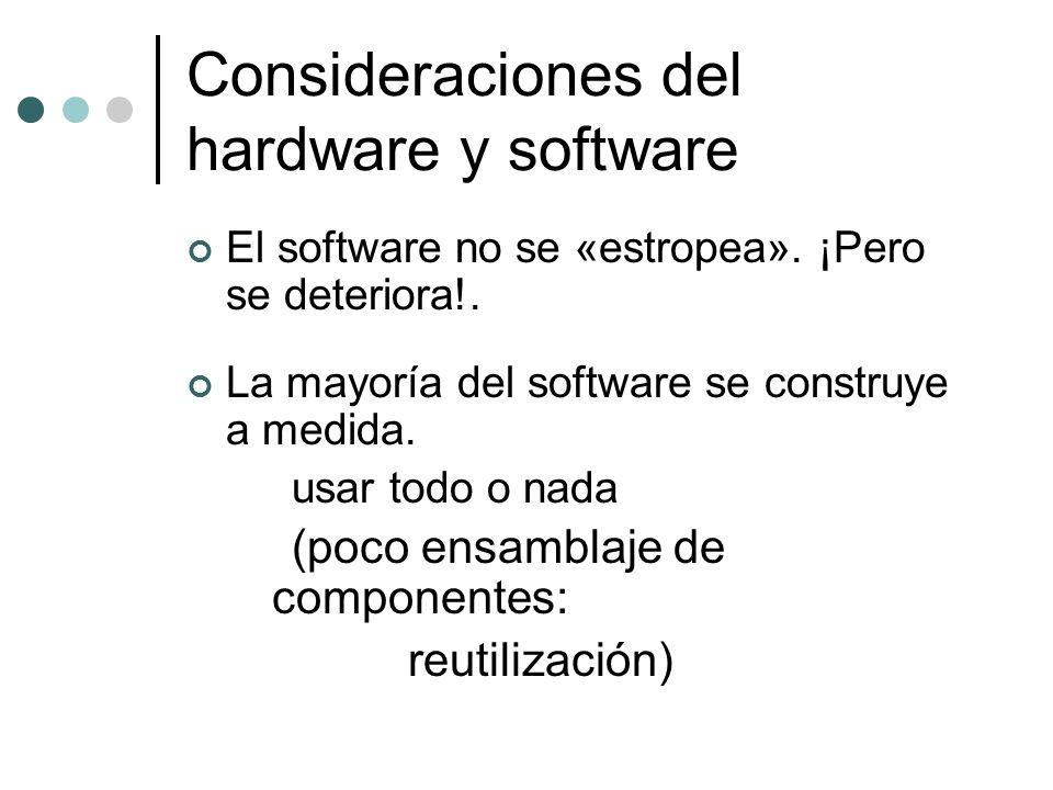 El software no se «estropea». ¡Pero se deteriora!. La mayoría del software se construye a medida. usar todo o nada (poco ensamblaje de componentes: re