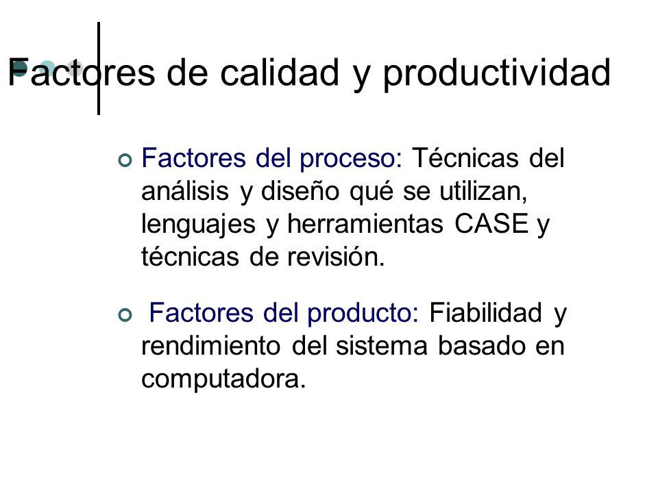 Factores del proceso: Técnicas del análisis y diseño qué se utilizan, lenguajes y herramientas CASE y técnicas de revisión. Factores del producto: Fia