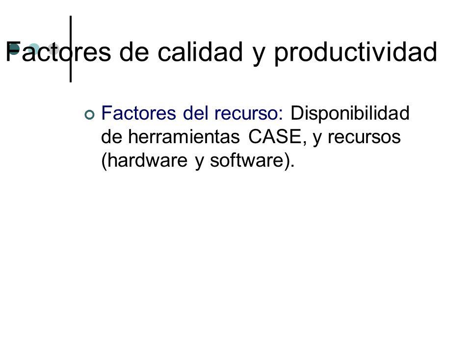 Factores del recurso: Disponibilidad de herramientas CASE, y recursos (hardware y software). Factores de calidad y productividad