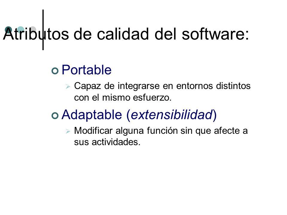 Portable Capaz de integrarse en entornos distintos con el mismo esfuerzo. Adaptable (extensibilidad) Modificar alguna función sin que afecte a sus act