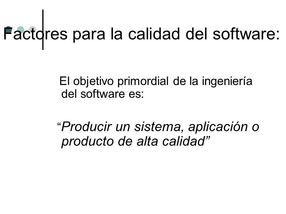Factores para la calidad del software: El objetivo primordial de la ingeniería del software es: Producir un sistema, aplicación o producto de alta cal