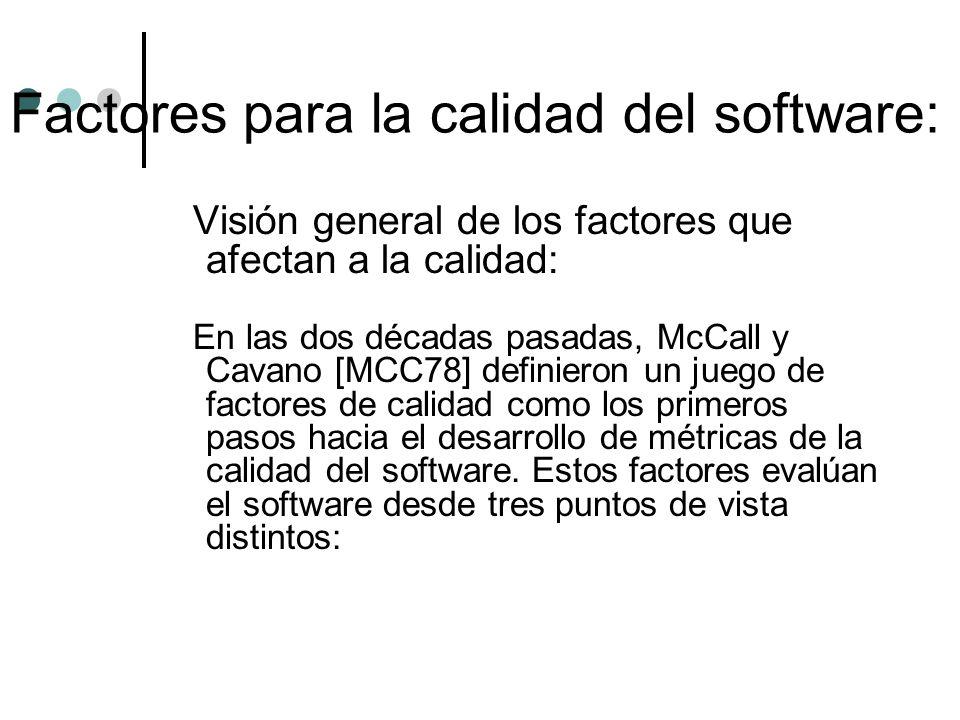 Visión general de los factores que afectan a la calidad: En las dos décadas pasadas, McCall y Cavano [MCC78] definieron un juego de factores de calida