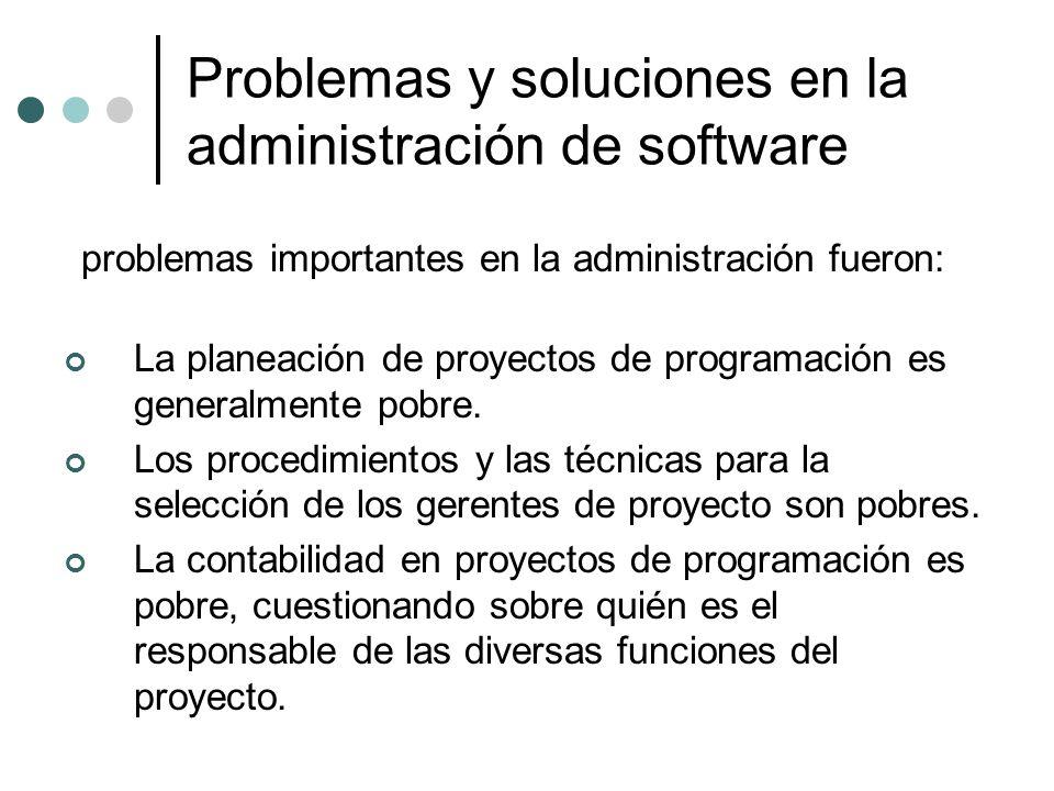 Problemas y soluciones en la administración de software problemas importantes en la administración fueron: La planeación de proyectos de programación