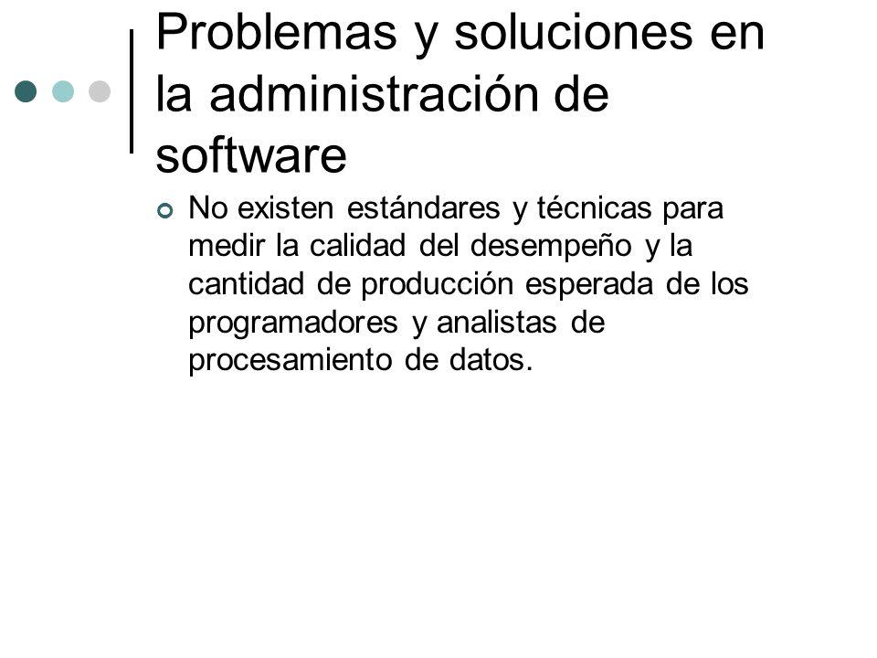 No existen estándares y técnicas para medir la calidad del desempeño y la cantidad de producción esperada de los programadores y analistas de procesam