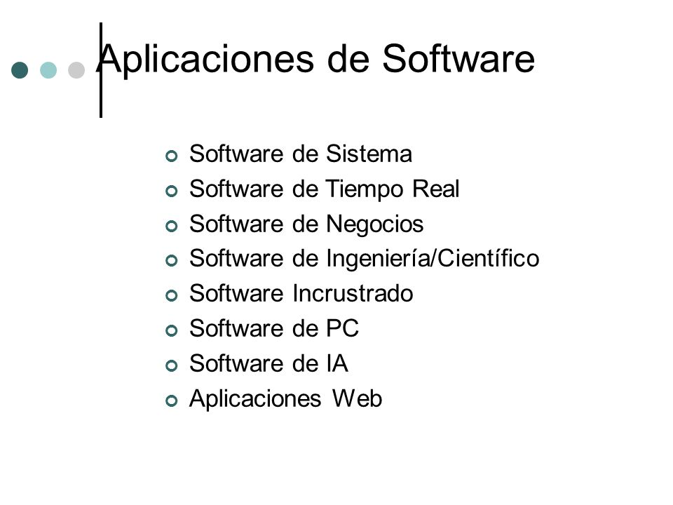 Aplicaciones de Software Software de Sistema Software de Tiempo Real Software de Negocios Software de Ingeniería/Científico Software Incrustrado Softw