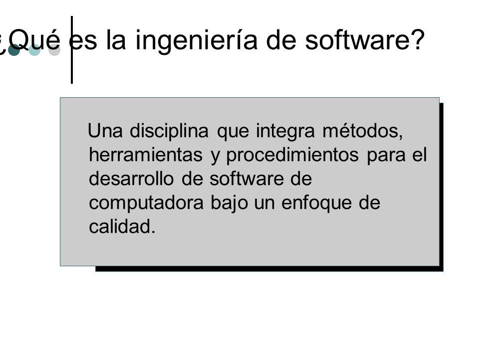 ¿Qué es la ingeniería de software? Una disciplina que integra métodos, herramientas y procedimientos para el desarrollo de software de computadora baj
