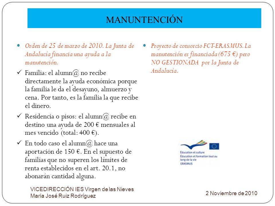 MANUNTENCIÓN VICEDIRECCIÓN IES Virgen de las Nieves María José Ruiz Rodríguez Orden de 25 de marzo de 2010. La Junta de Andalucía financia una ayuda a