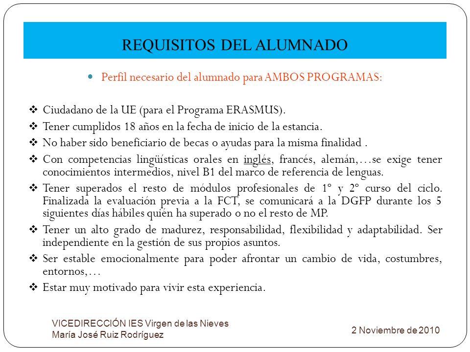 REQUISITOS DEL ALUMNADO VICEDIRECCIÓN IES Virgen de las Nieves María José Ruiz Rodríguez Perfil necesario del alumnado para AMBOS PROGRAMAS: Ciudadano
