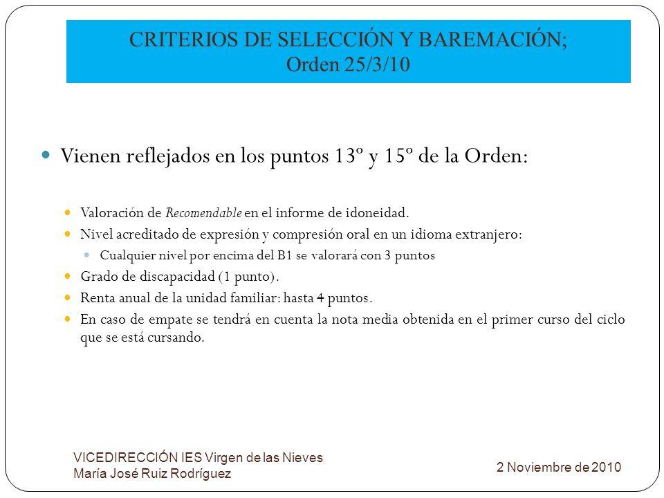 CRITERIOS DE SELECCIÓN Y BAREMACIÓN; Orden 25/3/10 VICEDIRECCIÓN IES Virgen de las Nieves María José Ruiz Rodríguez Vienen reflejados en los puntos 13