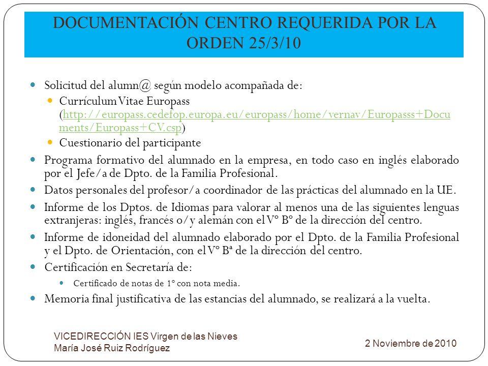 DOCUMENTACIÓN CENTRO REQUERIDA POR LA ORDEN 25/3/10 VICEDIRECCIÓN IES Virgen de las Nieves María José Ruiz Rodríguez Solicitud del alumn@ según modelo
